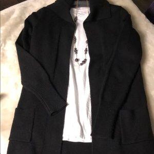 J Crew black knit long open cardigan